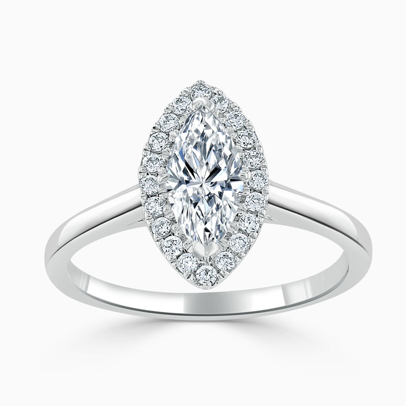 Platinum Marquise Cut Classic Plain Halo Engagement Ring