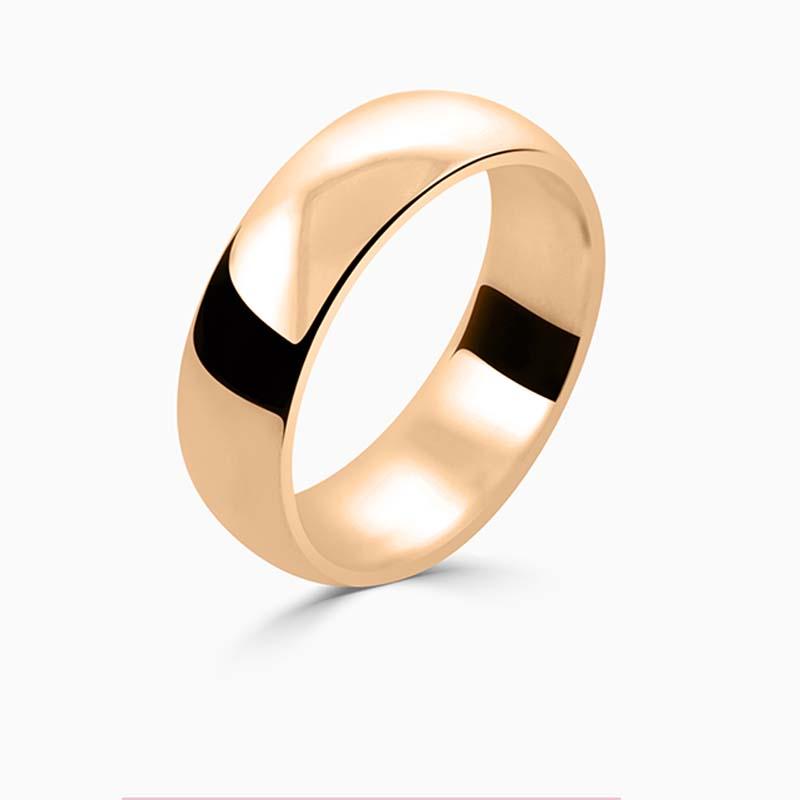 18ct Rose Gold 6mm D Shape Medium Weight Wedding Ring