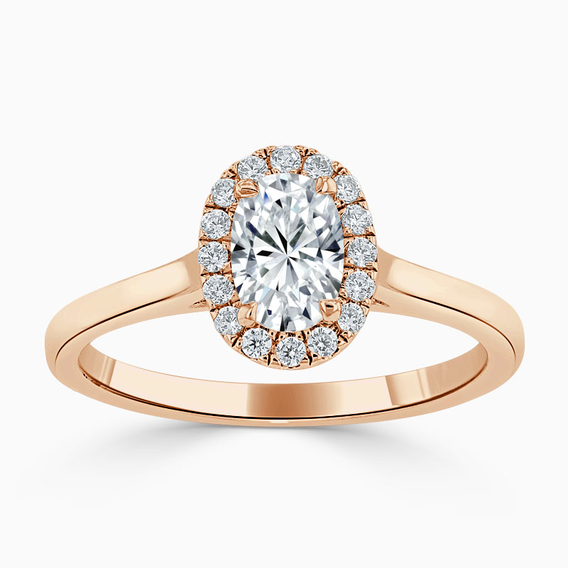 18ct Rose Gold Oval Shape Classic Plain Halo Engagement Ring