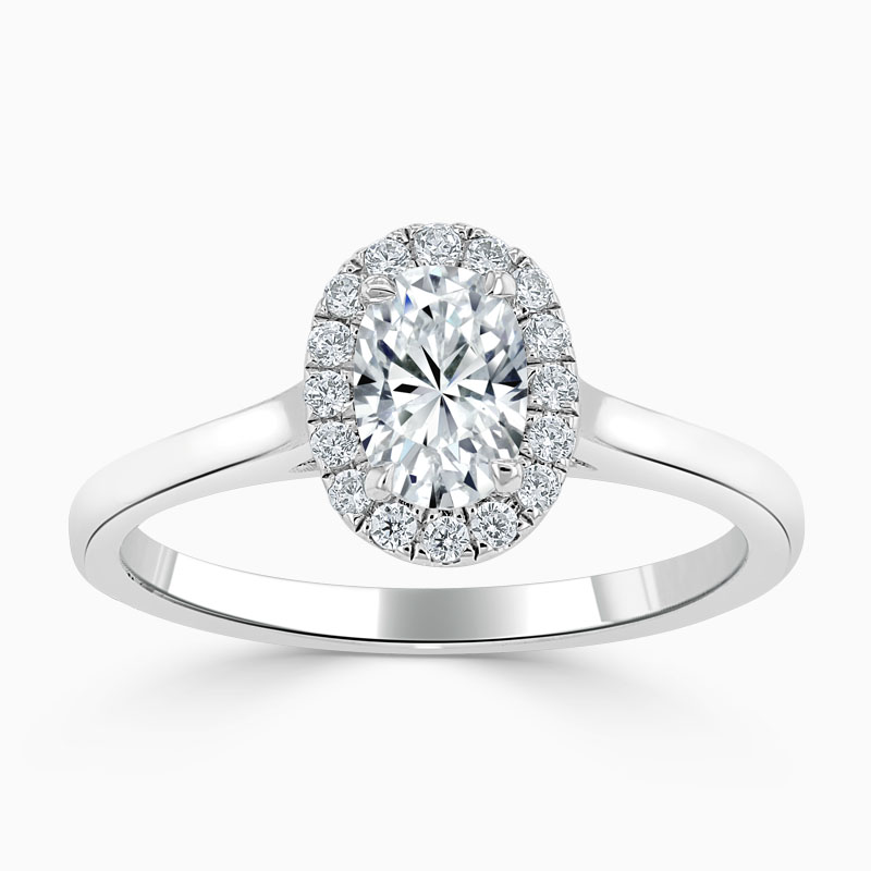 18ct White Gold Oval Shape Classic Plain Halo Engagement Ring