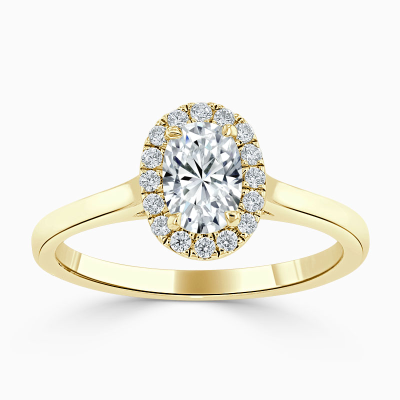 18ct Yellow Gold Oval Shape Classic Plain Halo Engagement Ring