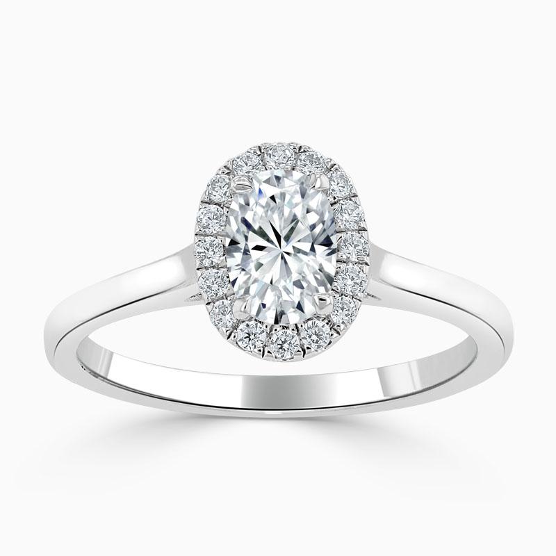 Platinum Oval Shape Classic Plain Halo Engagement Ring