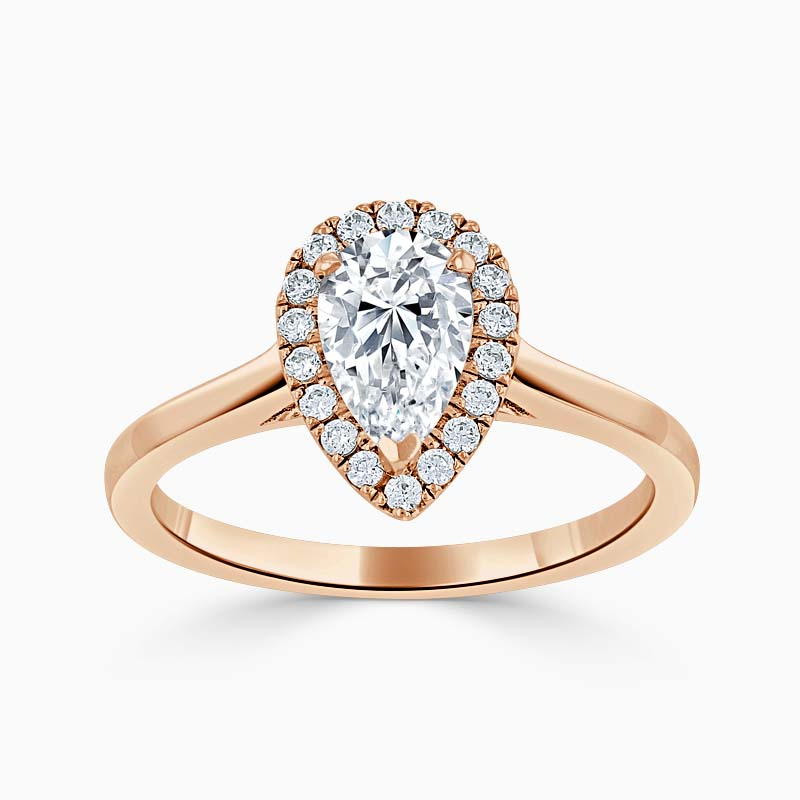 18ct Rose Gold Pear Shape Classic Plain Halo Engagement Ring