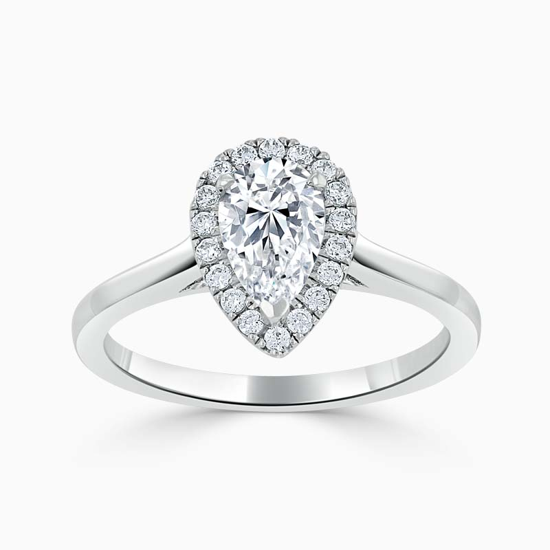 18ct White Gold Pear Shape Classic Plain Halo Engagement Ring