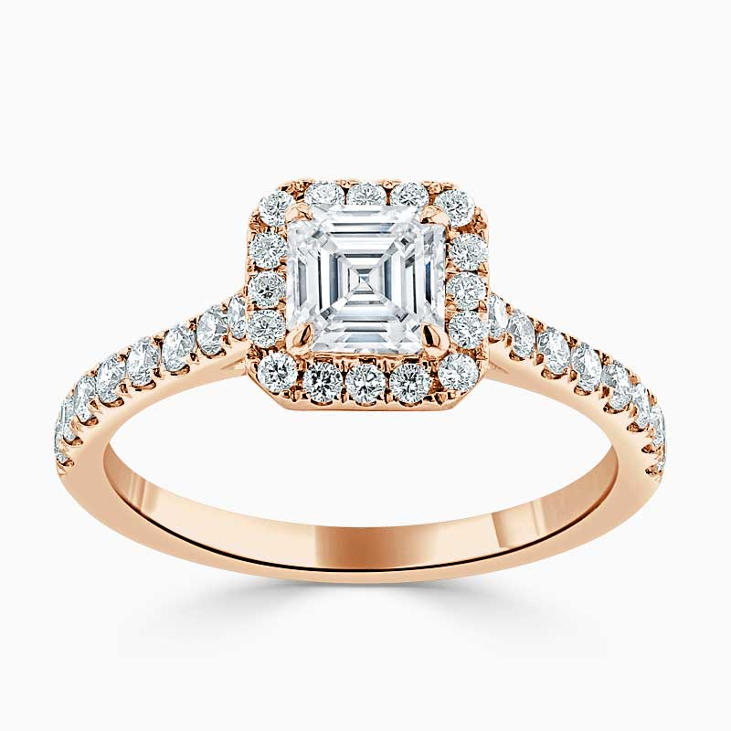 18ct Rose Gold Asscher Cut Classic Wedfit Halo Engagement Ring