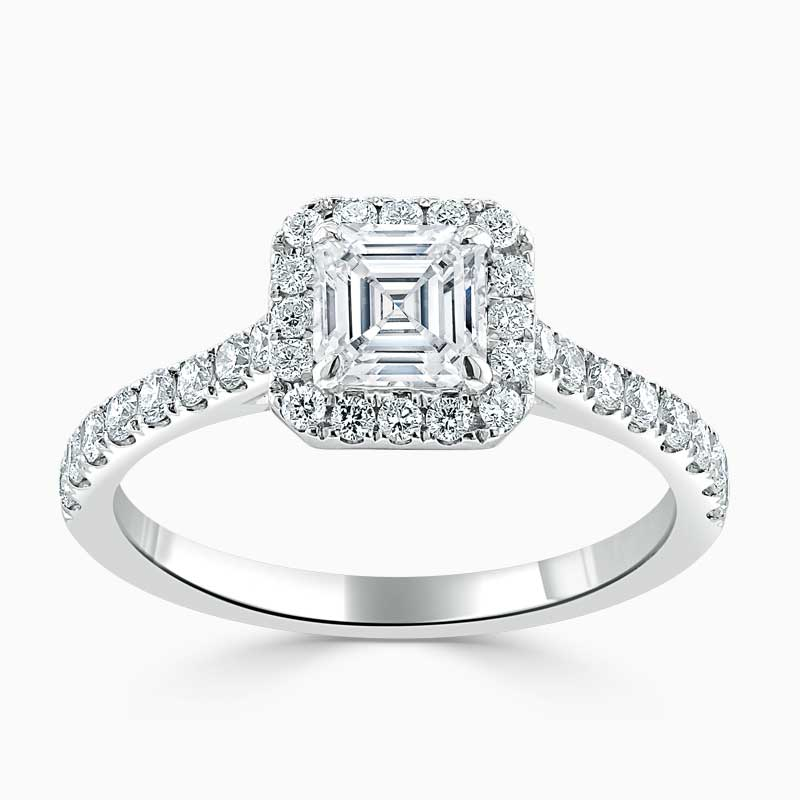 18ct White Gold Asscher Cut Classic Wedfit Halo Engagement Ring