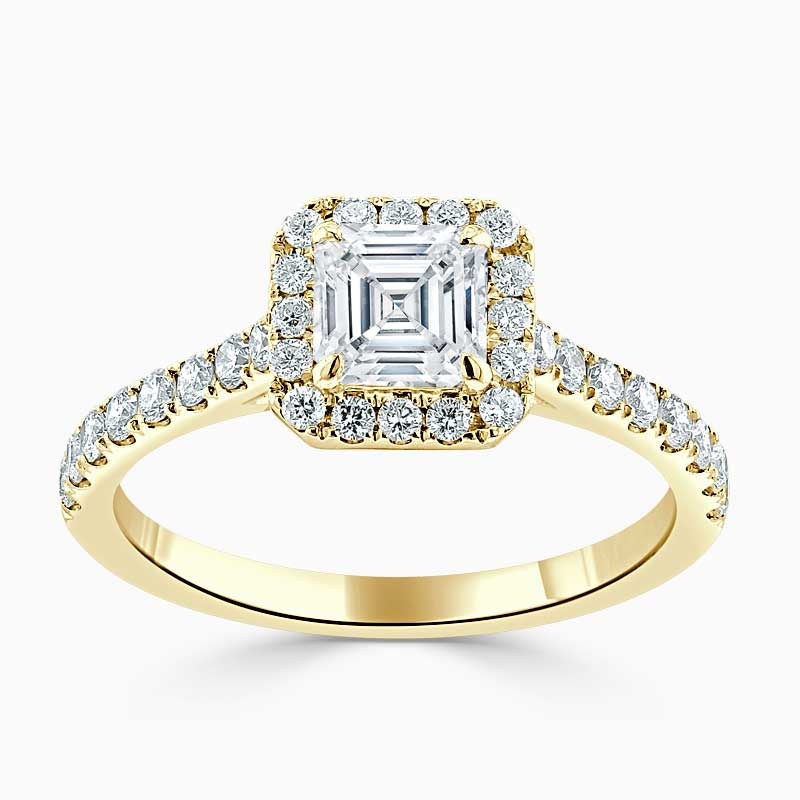 18ct Yellow Gold Asscher Cut Classic Wedfit Halo Engagement Ring