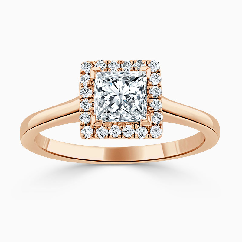 18ct Rose Gold Princess Cut Classic Plain Halo Engagement Ring