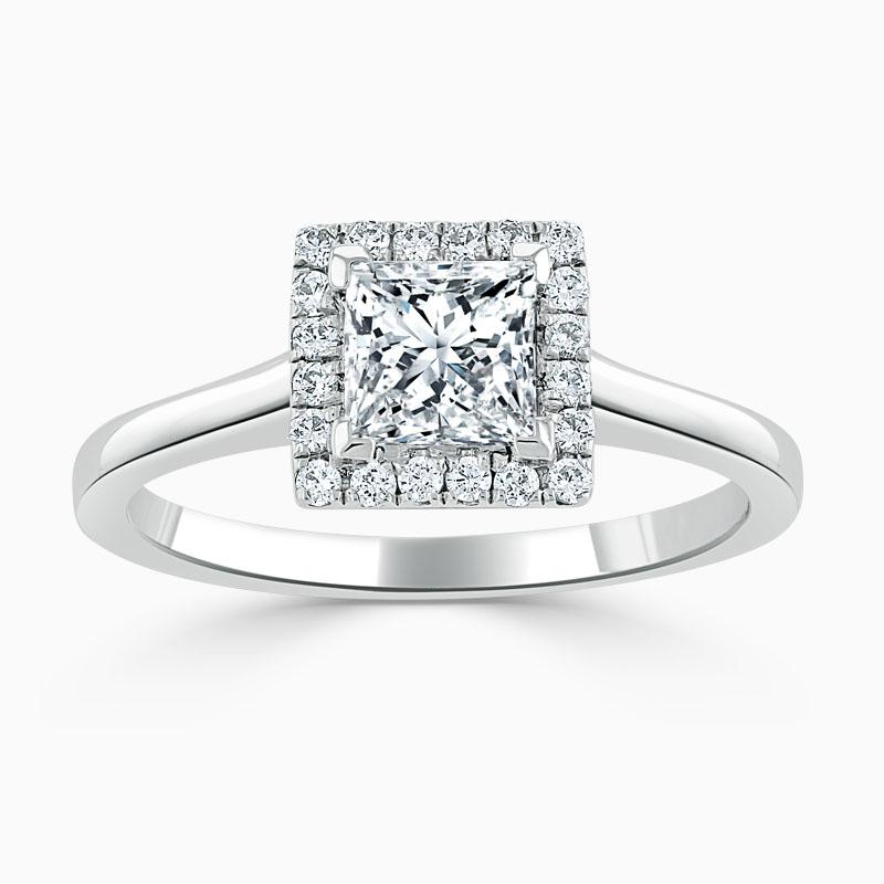 18ct White Gold Princess Cut Classic Plain Halo Engagement Ring