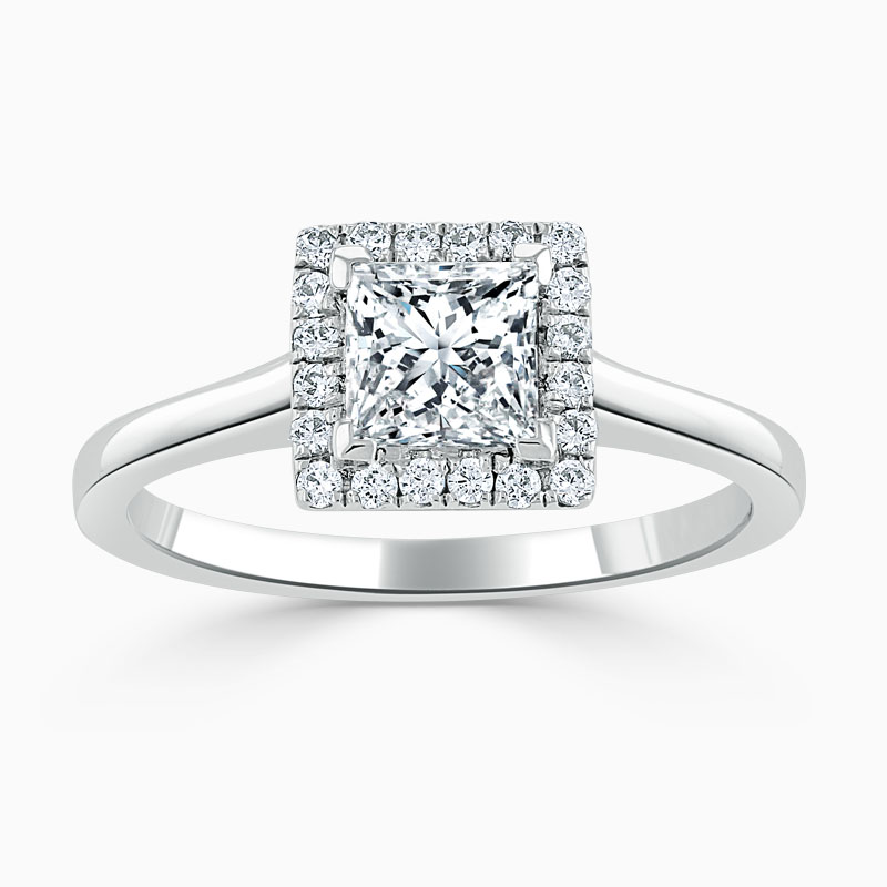 18ct White Gold Princess Cut Classic Plain Halo Engagement Ring