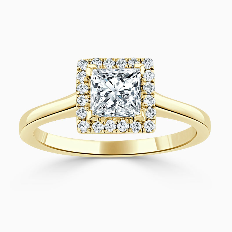 18ct Yellow Gold Princess Cut Classic Plain Halo Engagement Ring