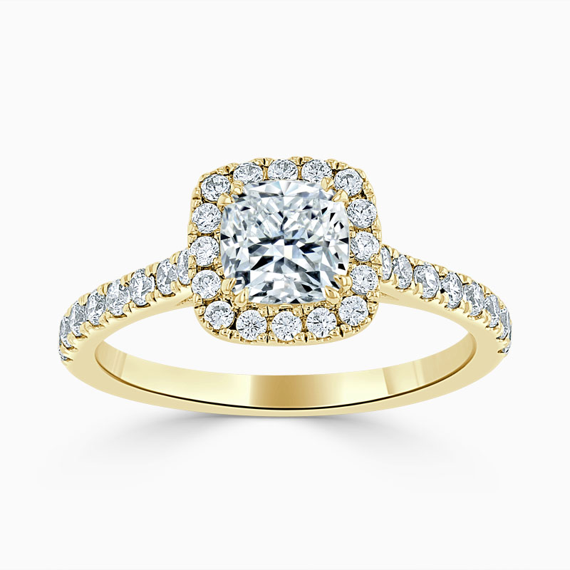 18ct Yellow Gold Cushion Cut Classic Wedfit Halo Engagement Ring