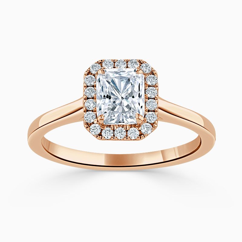 18ct Rose Gold Radiant Cut Classic Plain Halo Engagement Ring