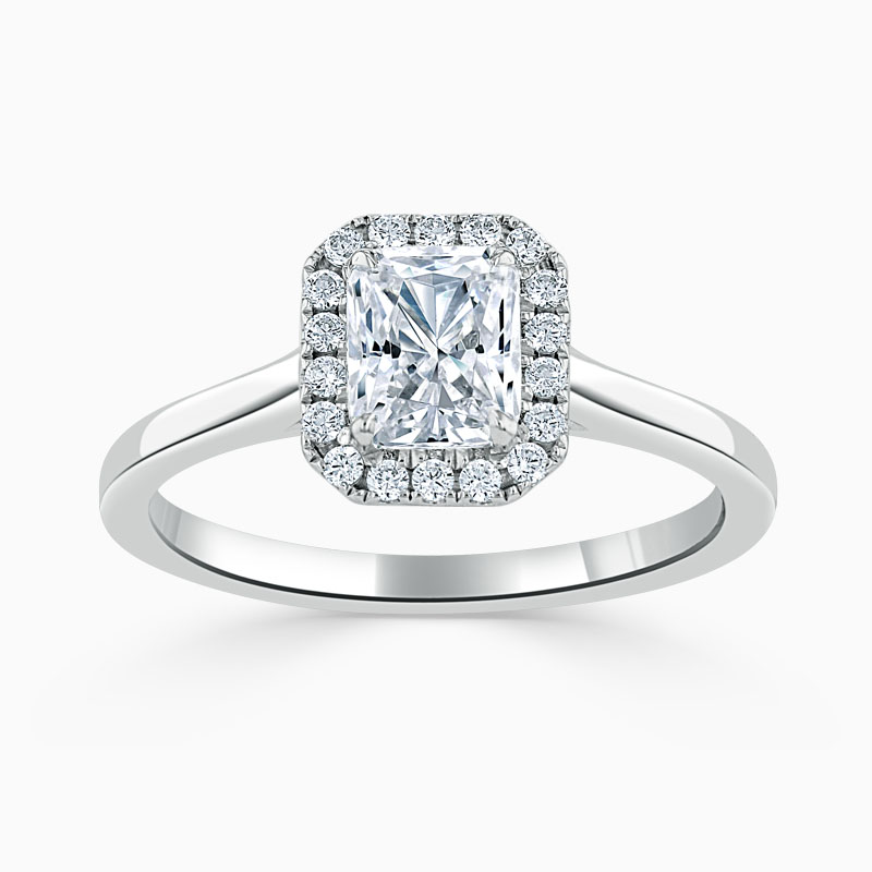 18ct White Gold Radiant Cut Classic Plain Halo Engagement Ring