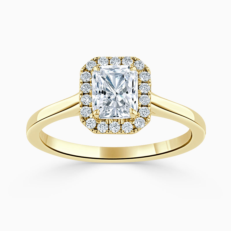18ct Yellow Gold Radiant Cut Classic Plain Halo Engagement Ring