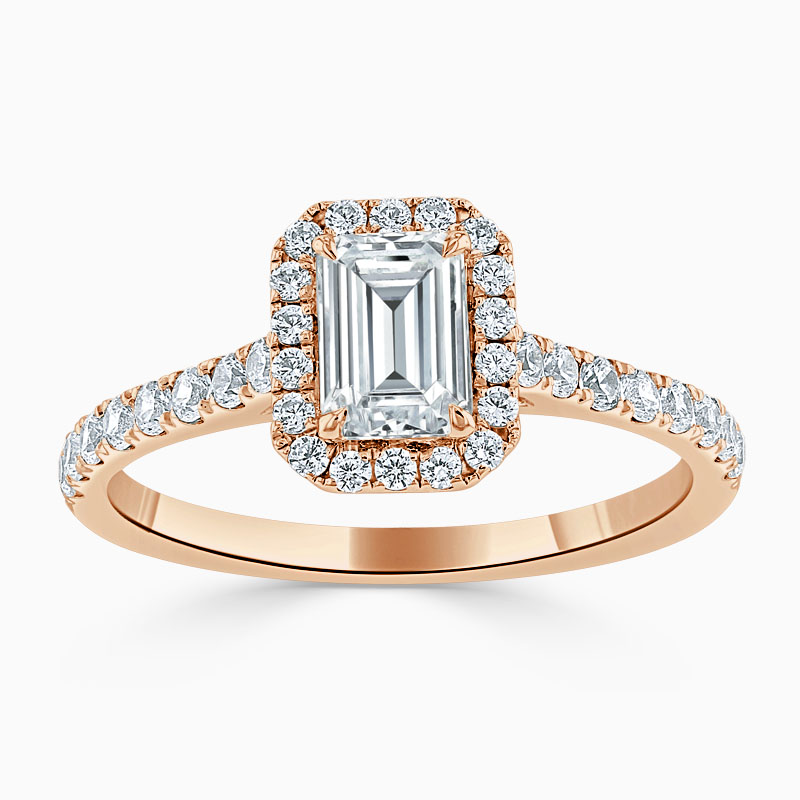 18ct Rose Gold Emerald Cut Classic Wedfit Halo Engagement Ring