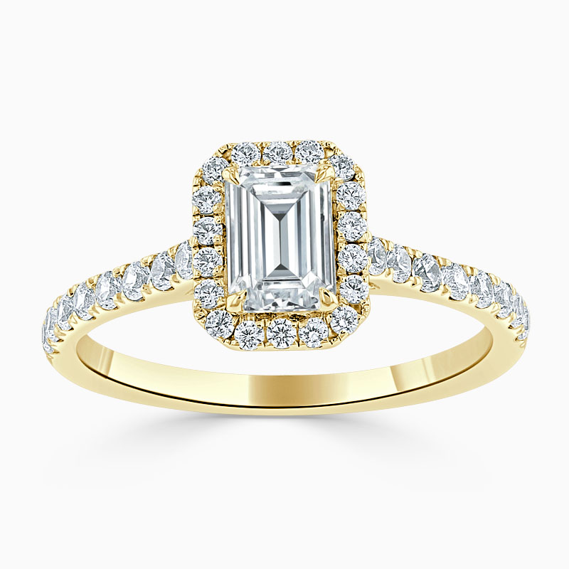 18ct Yellow Gold Emerald Cut Classic Wedfit Halo Engagement Ring