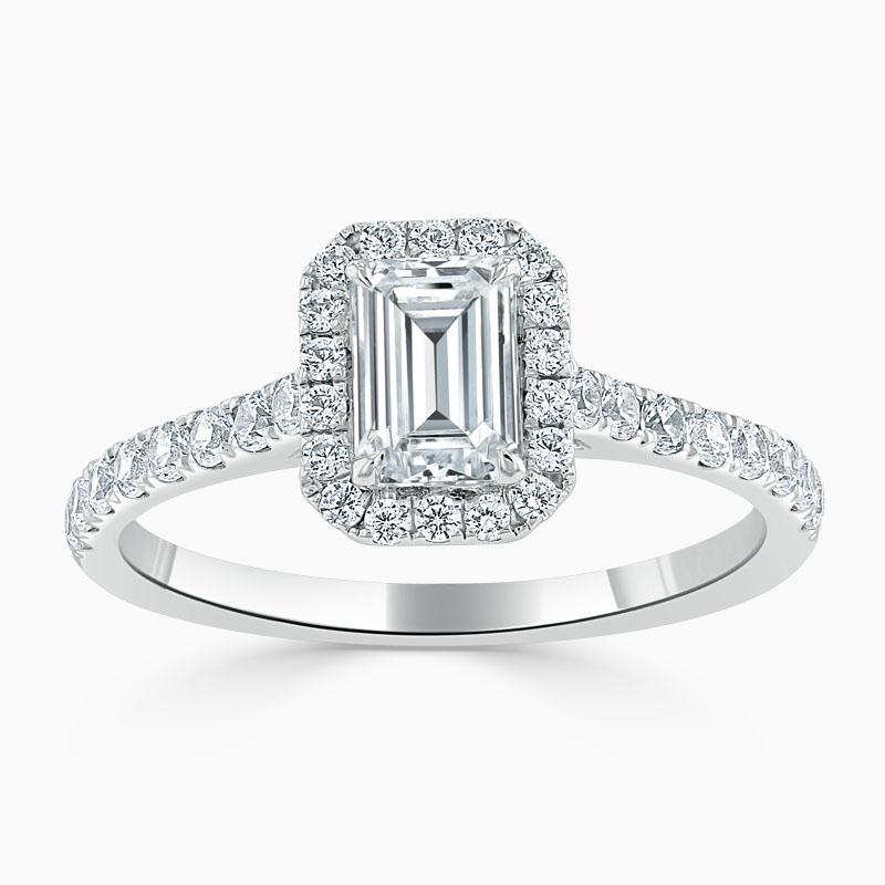 Platinum Emerald Cut Classic Wedfit Halo Engagement Ring