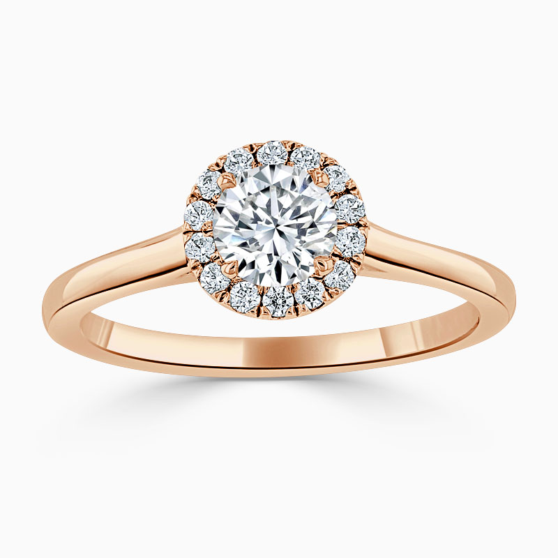 18ct Rose Gold Round Brilliant Classic Plain Halo Engagement Ring