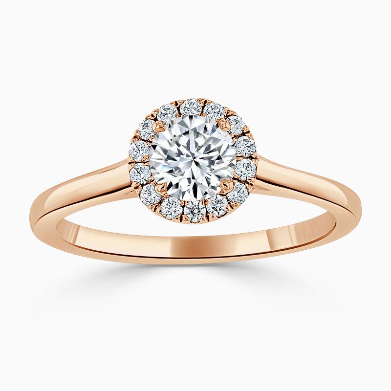 18ct Rose Gold Round Brilliant Classic Plain Halo Engagement Ring