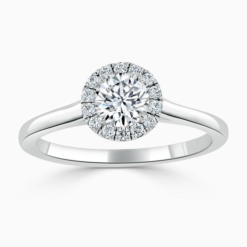 18ct White Gold Round Brilliant Classic Plain Halo Engagement Ring