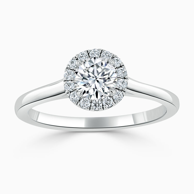 18ct White Gold Round Brilliant Classic Plain Halo Engagement Ring