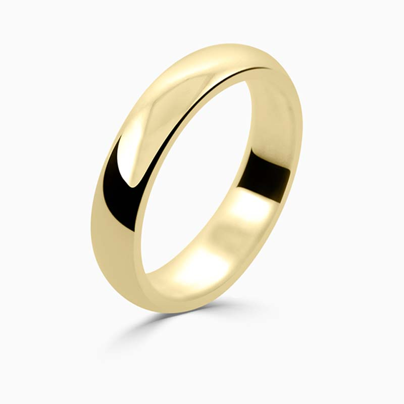 18ct Yellow Gold 4mm D Shape Medium Weight Wedding Ring