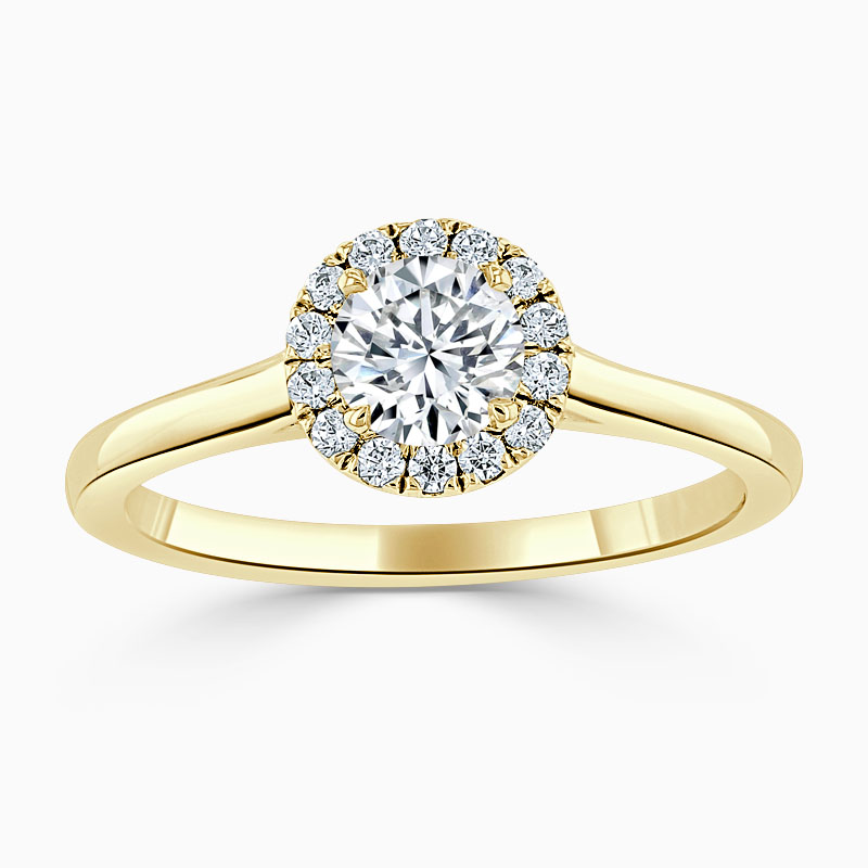 18ct Yellow Gold Round Brilliant Classic Plain Halo Engagement Ring