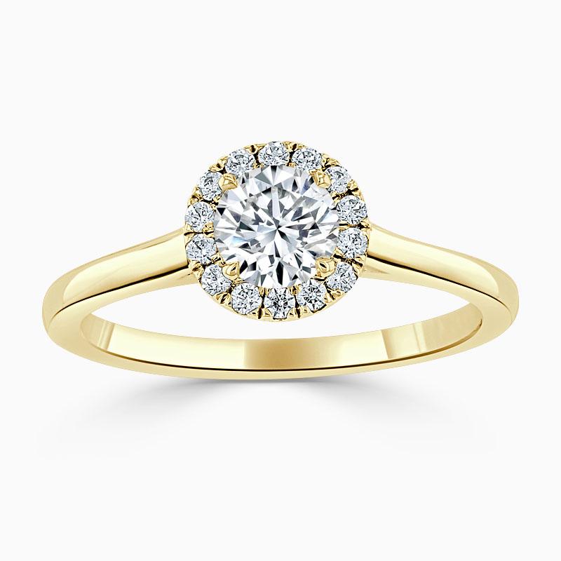 18ct Yellow Gold Round Brilliant Classic Plain Halo Engagement Ring