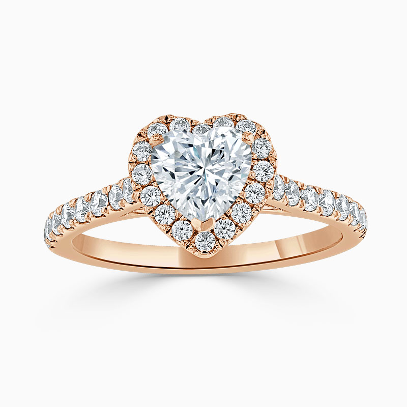 18ct Rose Gold Heart Shape Classic Wedfit Halo Engagement Ring