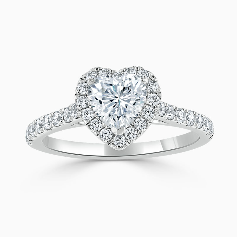 18ct White Gold Heart Shape Classic Wedfit Halo Engagement Ring