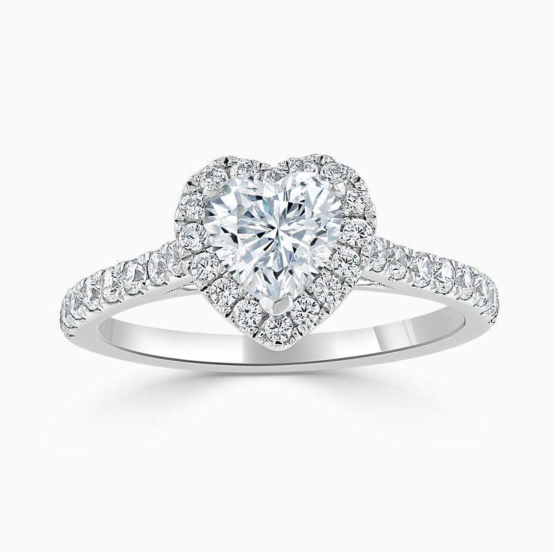 Platinum Heart Shape Classic Wedfit Halo Engagement Ring
