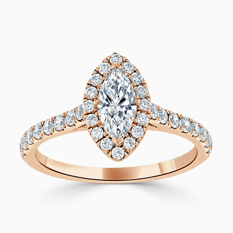 18ct Rose Gold Marquise Cut Classic Wedfit Halo Engagement Ring