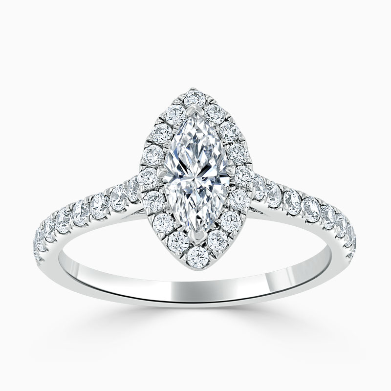 18ct White Gold Marquise Cut Classic Wedfit Halo Engagement Ring