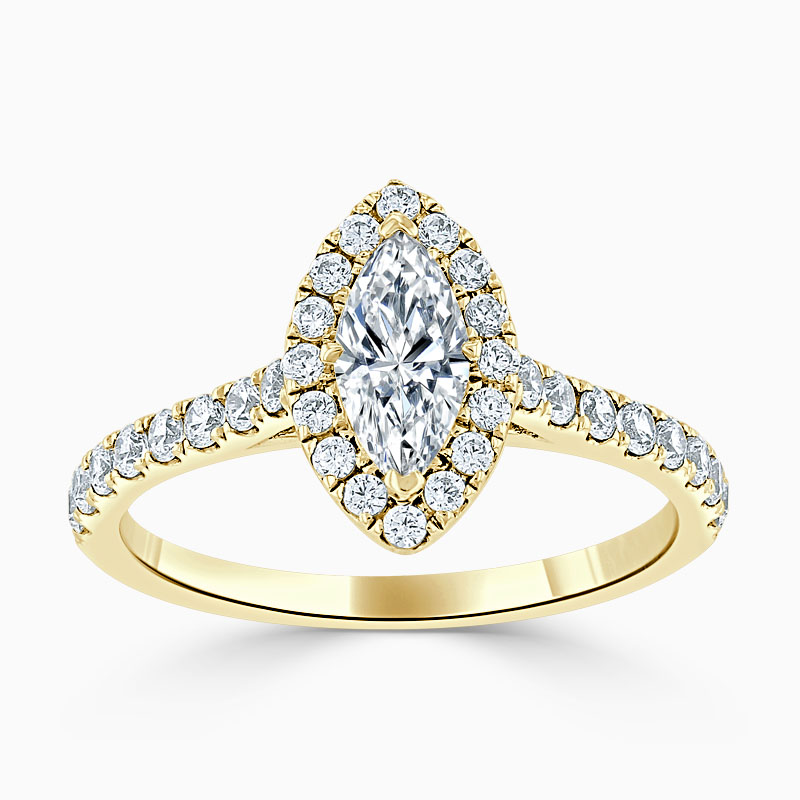 18ct Yellow Gold Marquise Cut Classic Wedfit Halo Engagement Ring