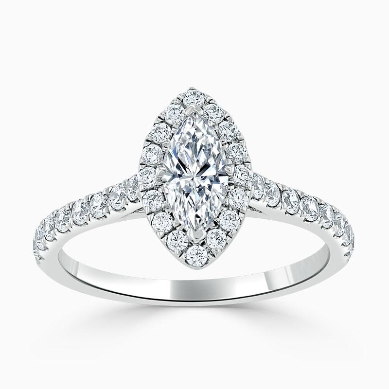 Platinum Marquise Cut Classic Wedfit Halo Engagement Ring