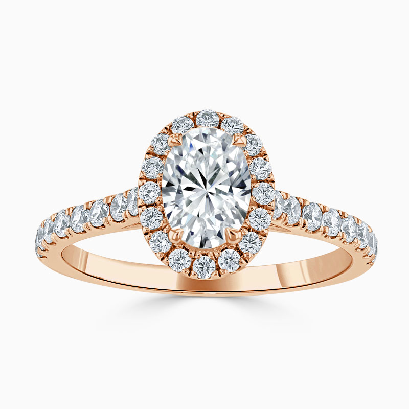 18ct Rose Gold Oval Shape Classic Wedfit Halo Engagement Ring