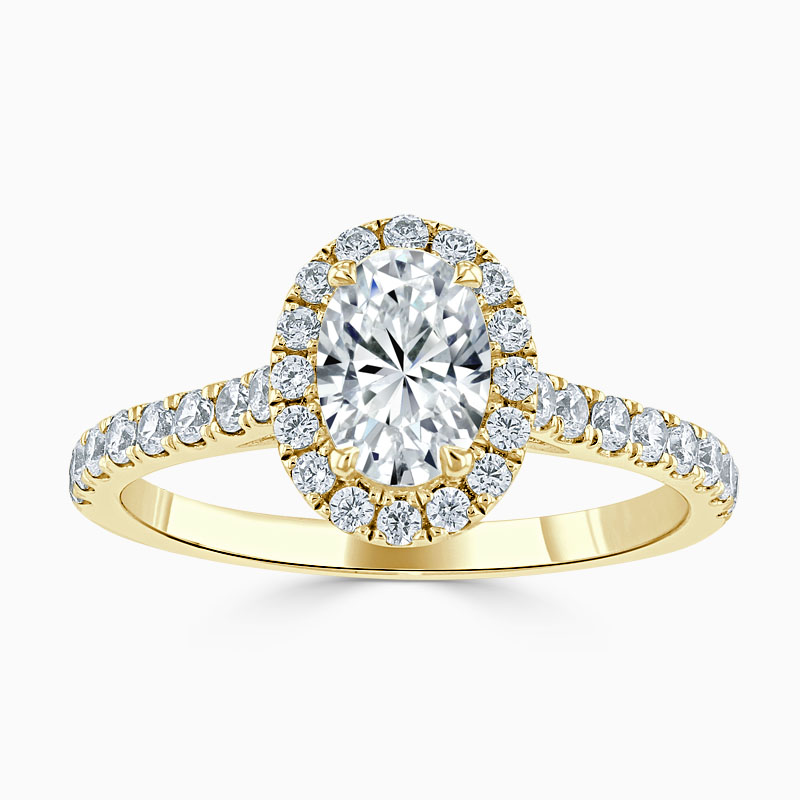 18ct Yellow Gold Oval Shape Classic Wedfit Halo Engagement Ring