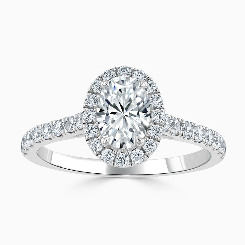 Platinum Oval Shape Classic Wedfit Halo Engagement Ring