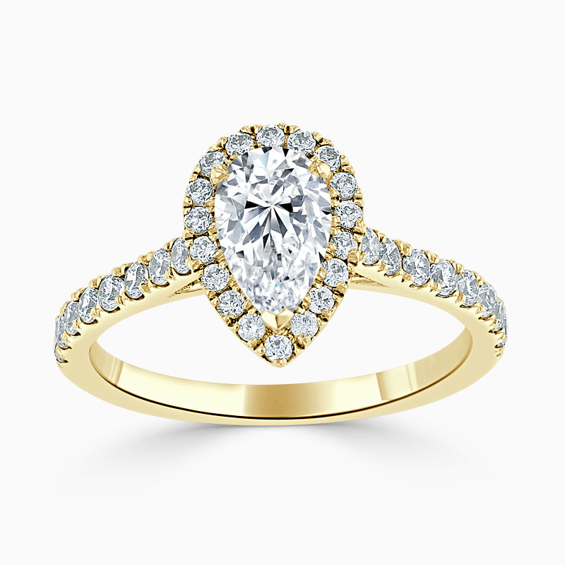 18ct Yellow Gold Pear Shape Classic Wedfit Halo Engagement Ring
