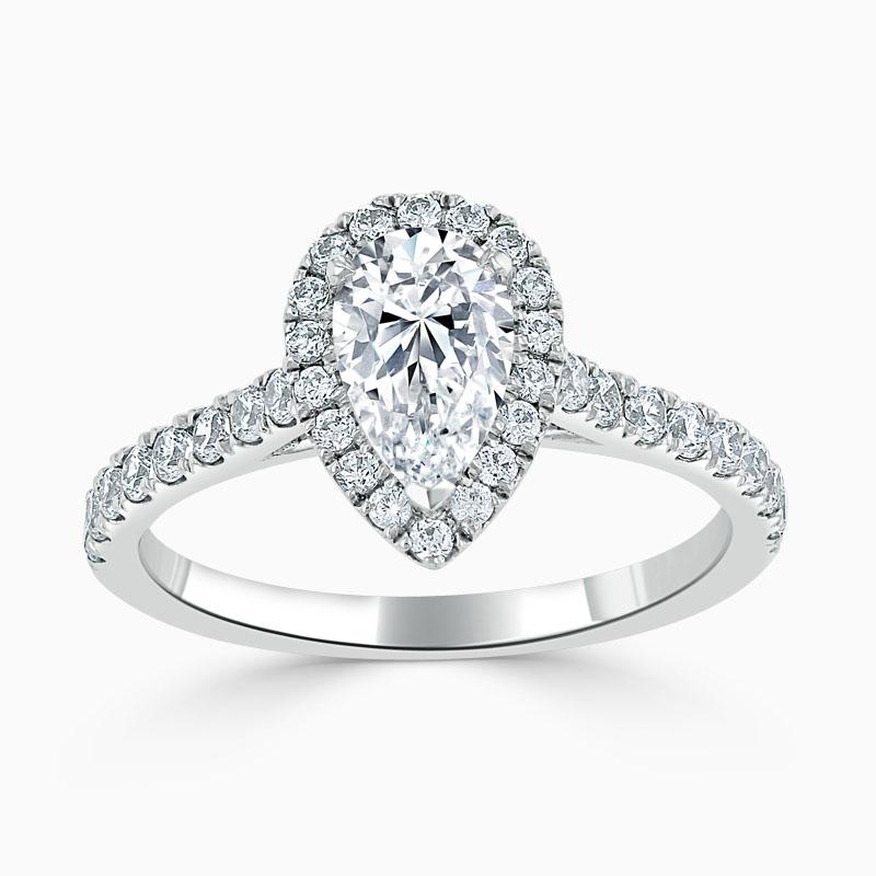Platinum Pear Shape Classic Wedfit Halo Engagement Ring