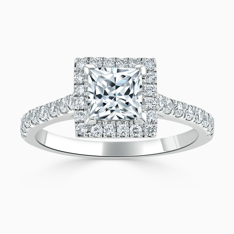 18ct White Gold Princess Cut Classic Wedfit Halo Engagement Ring