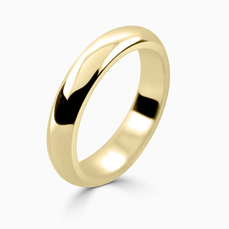 18ct Yellow Gold 4mm D Shape Heavy Weight Wedding Ring