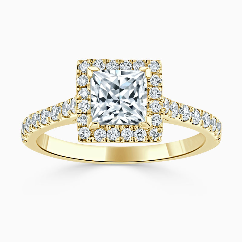 18ct Yellow Gold Princess Cut Classic Wedfit Halo Engagement Ring