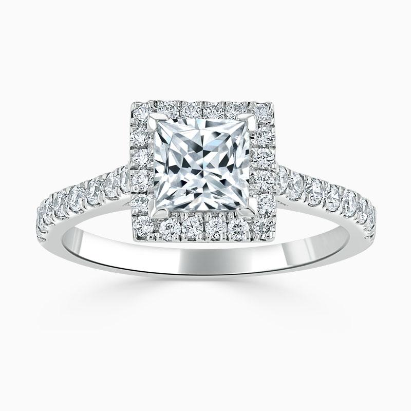 Platinum Princess Cut Classic Wedfit Halo Engagement Ring