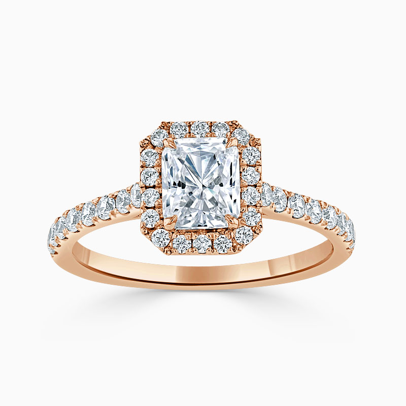 18ct Rose Gold Radiant Cut Classic Wedfit Halo Engagement Ring