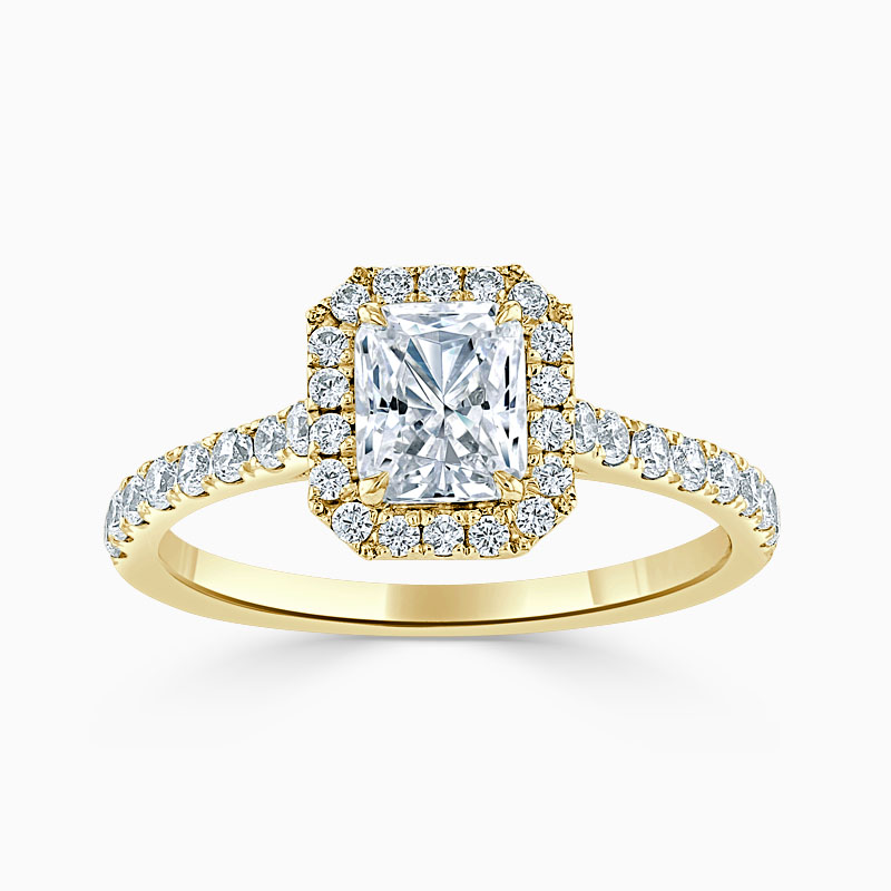 18ct Yellow Gold Radiant Cut Classic Wedfit Halo Engagement Ring
