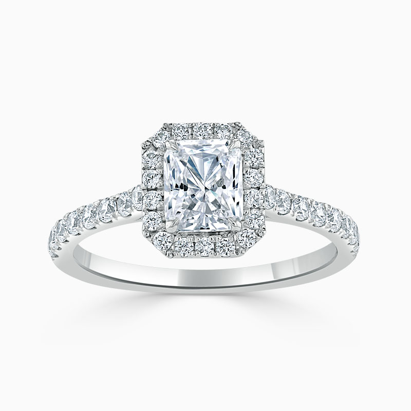 Platinum Radiant Cut Classic Wedfit Halo Engagement Ring