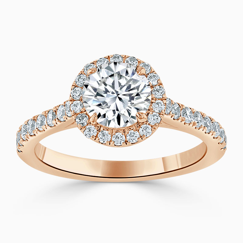18ct Rose Gold Round Brilliant Classic Wedfit Halo Engagement Ring