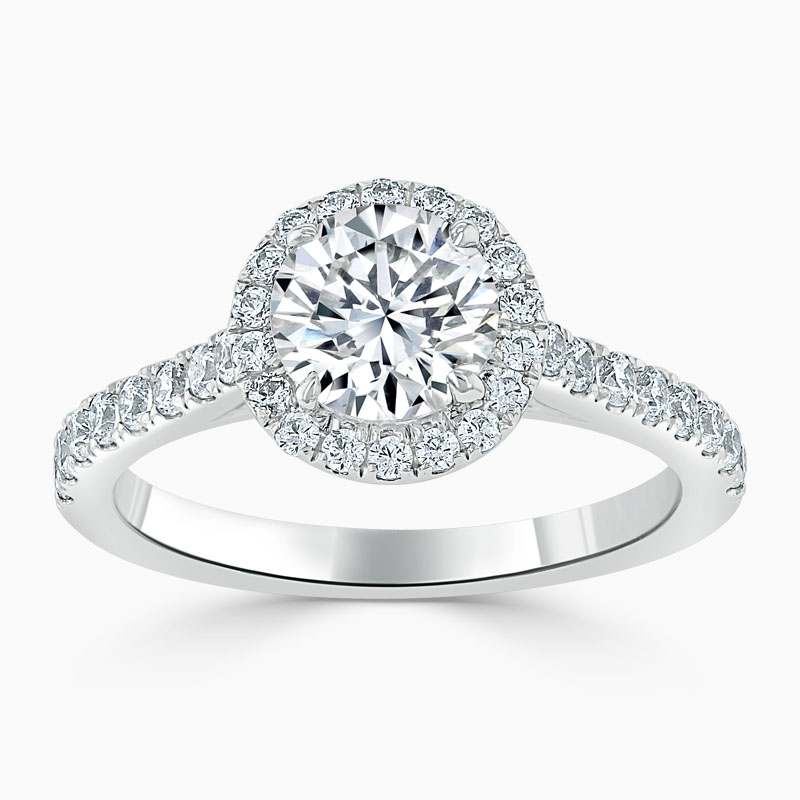 18ct White Gold Round Brilliant Classic Wedfit Halo Engagement Ring